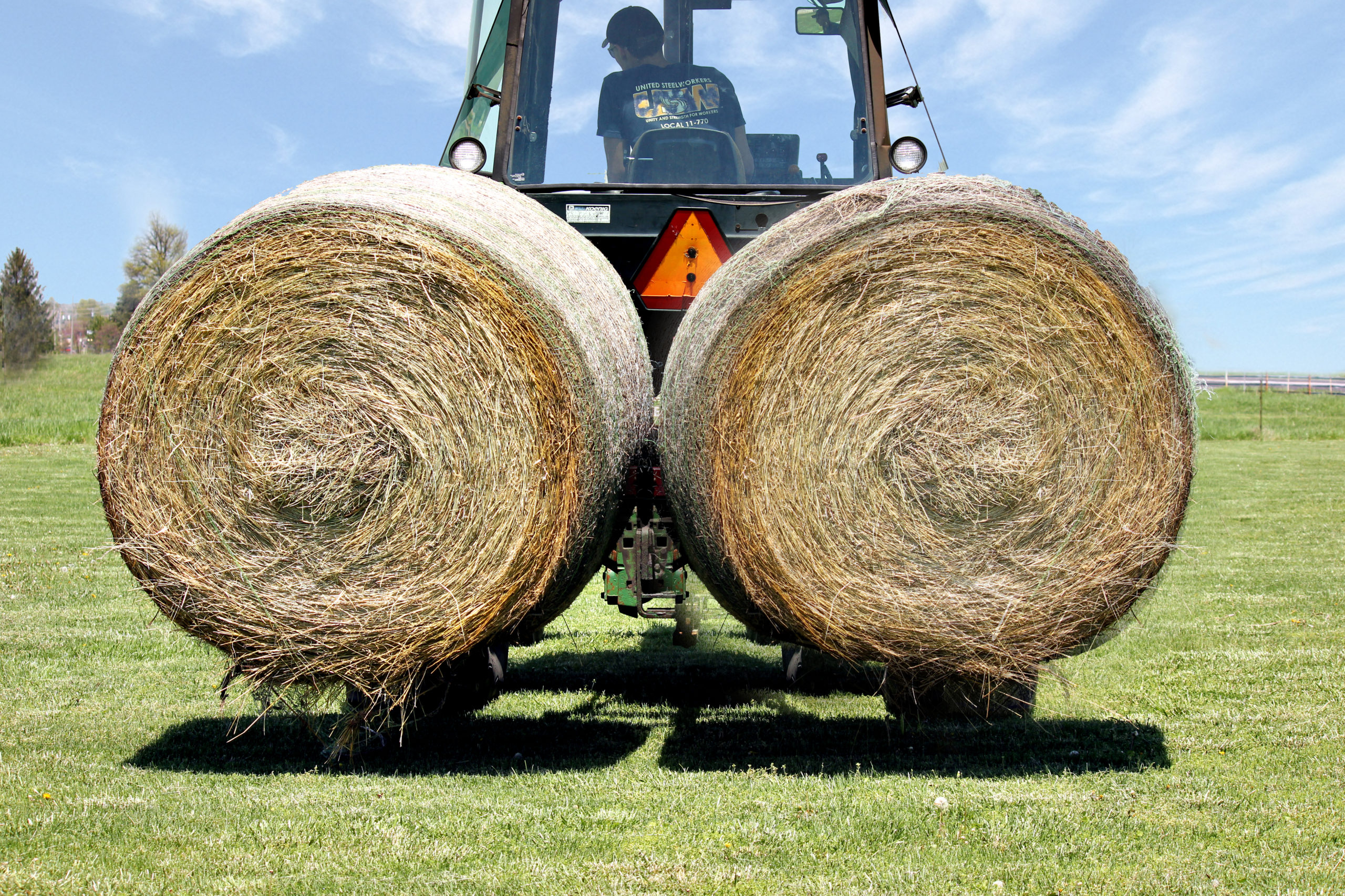 3-Point Two-Bale Mover lifting two large bales